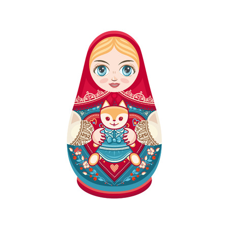 babushka: Matryoshka. Russian folk nesting doll. Babushka doll. Vector illustration on white background Illustration