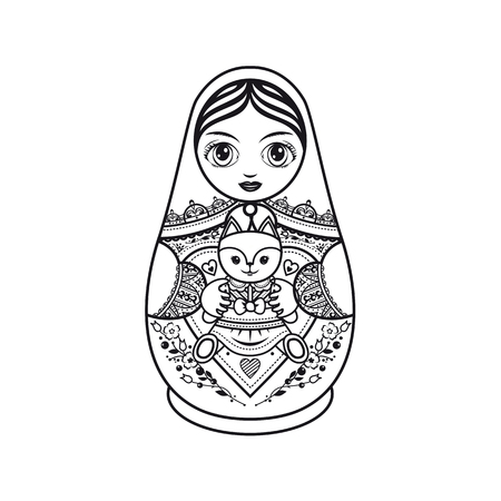 babushka: Matryoshka. Russian folk nesting doll. Babushka doll. Template for coloring book. Monochrome. Black and white. Vector illustration on white background