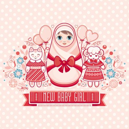 newborn baby: Newborn little baby. New little girl. Matryoshka. Greeting card of the newborn. Illustration
