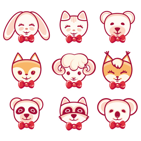cute cartoon animals: Animals set. Vector set. Icons. Childrens clothing. Rabbit, bear, cat, raccoon, koala, panda, fox, squirrel, sheep. Vector illustration on white background Illustration