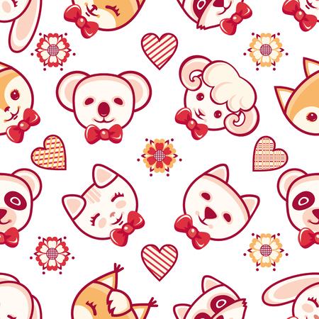 sheep dog: Animal. Seamless pattern. Childrens clothing. Rabbit, hare, bear, cat, kitten, raccoon, koala, panda, fox, squirrel, sheep, dog. Vector illustration Illustration