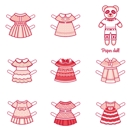 casual clothing: Paper doll with a set of fashion clothes. Panda. Template for cutting. Vector illustration on white background