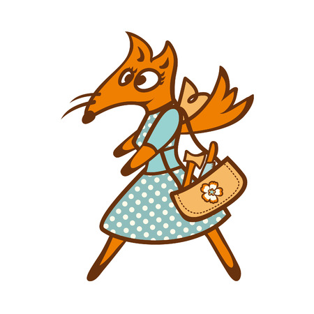 beautiful dress: Funny Fox in a beautiful dress. Vector illustration on white background Illustration