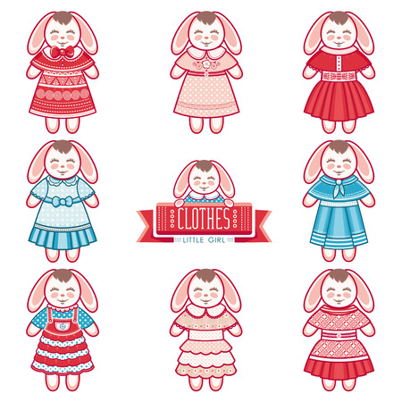 hares: Cute hares. Childrens clothing. Dresses for girls. Vector set. Icons. Vector illustration on white background Illustration