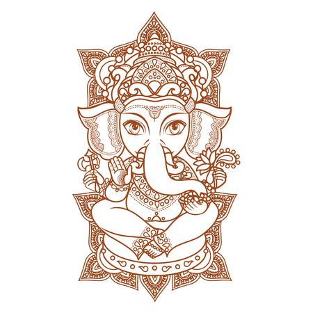 seigneur: �l�phant dieu hindou Ganesh. Hindouisme. fond Paisley. Indiens, motifs hindous. Tatouage au henn�, textiles, autocollant. style color� Enthousiaste. �l�ments vectoriels isol�s. Monochrome chiffre lin�aire