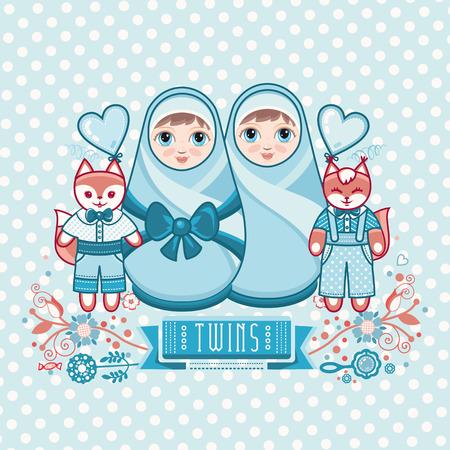 angeles bebe: Recién nacido pequeño bebé. Nuevo niño pequeño. Gemelos. Matryoshka. Tarjeta de felicitación. Tarjeta de felicitación del recién nacido.