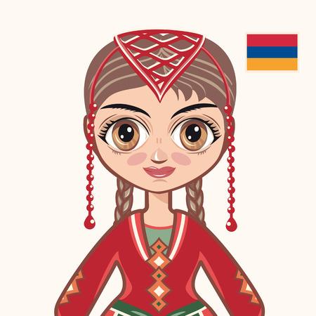 yerevan: The girl in Armenian dress. Historical clothes. Armenia. Illustration