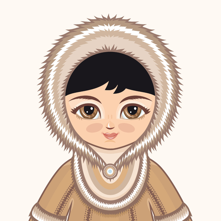 inuit: North girl. The girl in Chukcha dress. Historical clothes. The Far North. Colorful drawing .. Portrait. Avatar. Illustration