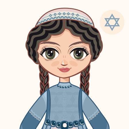 The girl in Orthodox Jews dress. Jewish. Portrait. Avatar.
