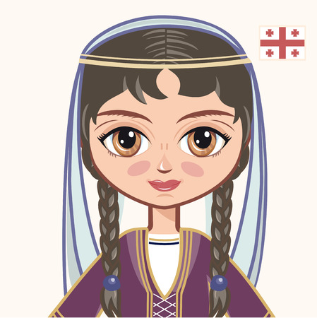 georgian: The girl in Georgian dress. Historical clothes. Georgia. Portrait. Avatar.