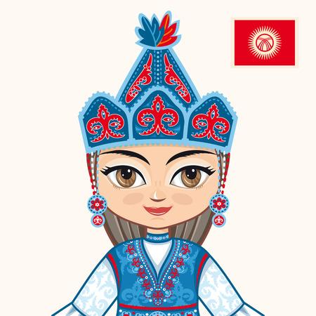 kirgizia: The girl in Kyrgyz dress. Historical clothes. Kyrgyzstan. Portrait. Avatar.