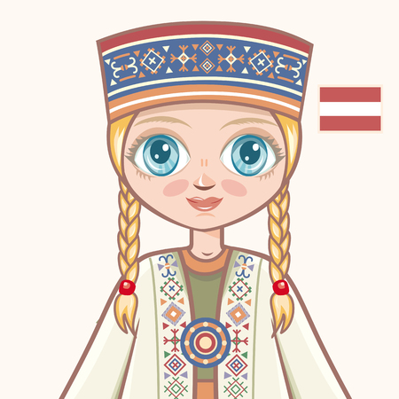 latvia girls: The girl in Latvian dress. Historical clothes. Latvia. Portrait. Avatar.