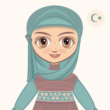 mohammedan: The girl in muslim dress. Historical clothes. Portrait. Avatar. Illustration