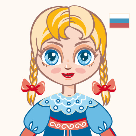 russian  russia: The girl in Russian dress. Historical clothes. Russia. Portrait. Avatar.