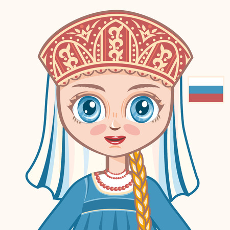 rus: The girl in Russian dress. Historical clothes. Russia. Portrait. Avatar.