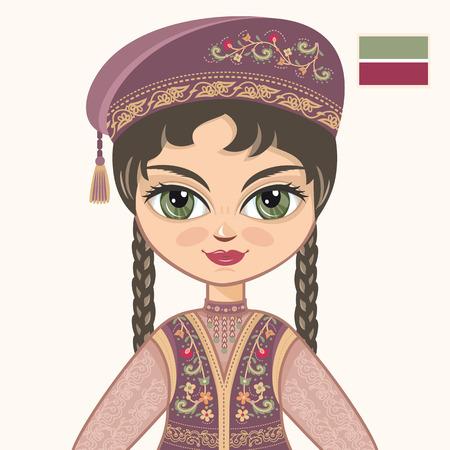 tartar: The girl in Tatar dress. Historical clothes. Tatarstan. Portrait. Avatar. Illustration