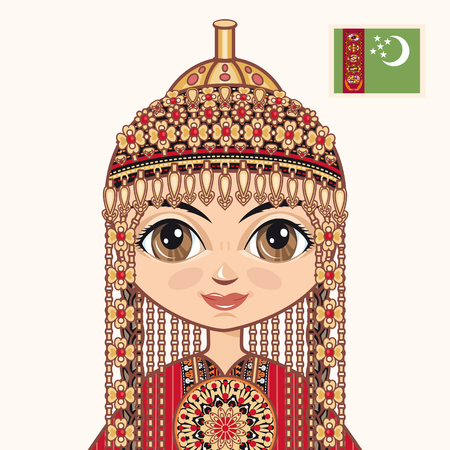 historical: The girl in Turkmen dress. Historical clothes. Turkmenistan. Portrait. Avatar. Illustration