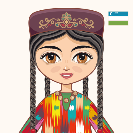 uzbek: The girl in Uzbek dress. Historical clothes. Uzbekistan. Portrait. Avatar.