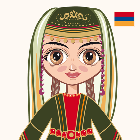 armenian: The girl in Armenian dress. Historical clothes. Armenia. Portrait. Avatar. Illustration