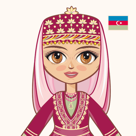 azerbaijanian: The girl in Azerbaijanian dress. Historical clothes. Azerbaijan. Portrait. Avatar.