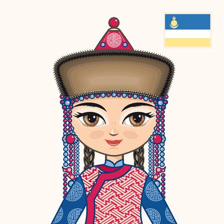 buryatia: The girl in Buryat dress. Historical clothes. Buryatia. Portrait. Avatar.