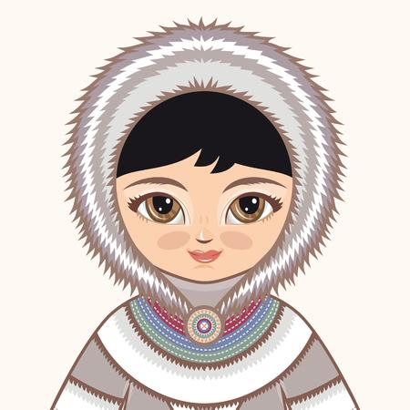esquimales: ropa esquimales. chica del Norte. La chica en traje de esquimales. ropa histórica. El Norte Lejano. dibujo colorido .. Retrato. Avatar.