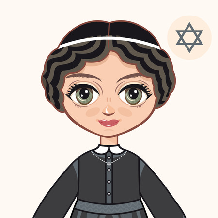 hasidic: The girl in Orthodox Jews dress. Jewish. Portrait. Avatar.