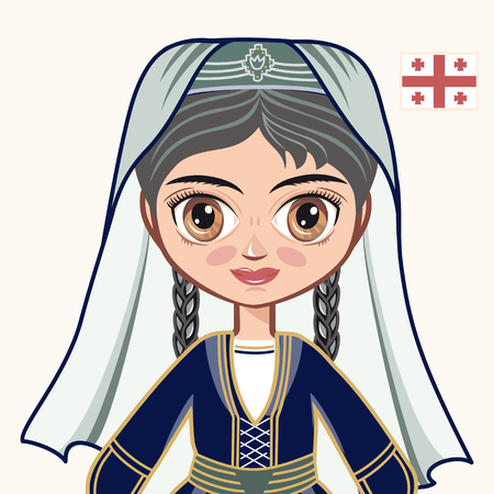 historical: The girl in Georgian dress. Historical clothes. Georgia. Portrait. Avatar.