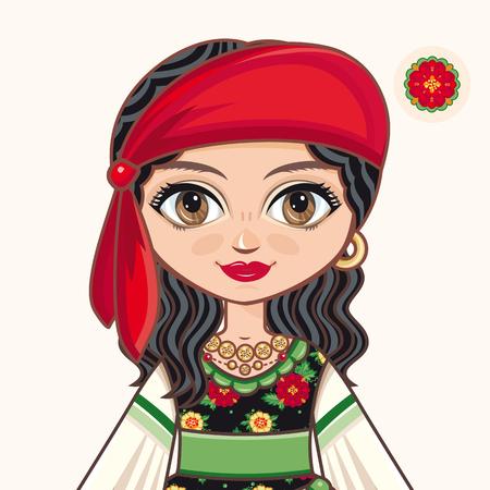 Gypsy girl. Historic clothes. Portrait. Avatar.