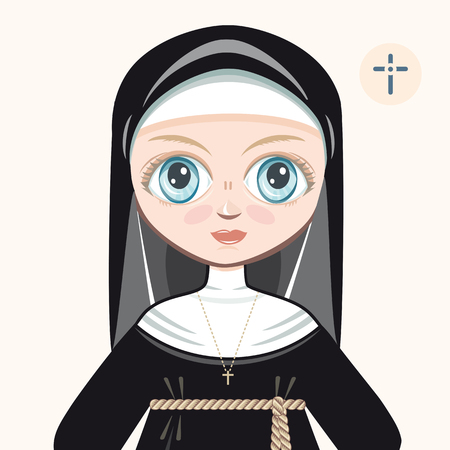 novice: The girl in novice dress. Nun. Portrait. Avatar.