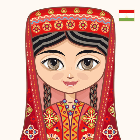 historical: The girl in Tajik dress. Historical clothes. Tajikistan. Portrait. Avatar. Illustration