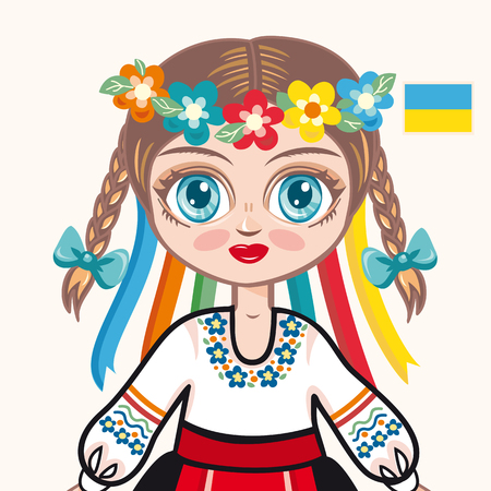 historical: The girl in Ukrainian dress. Historical clothes. Ukraine. Portrait. Avatar.