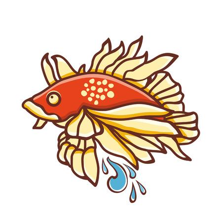 fish icon: Fish. Fish Icon. Colored drawing.