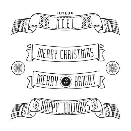 happy christmas: Christmas ribbons. Christmas greetings. Happy Christmas. Monochrome.