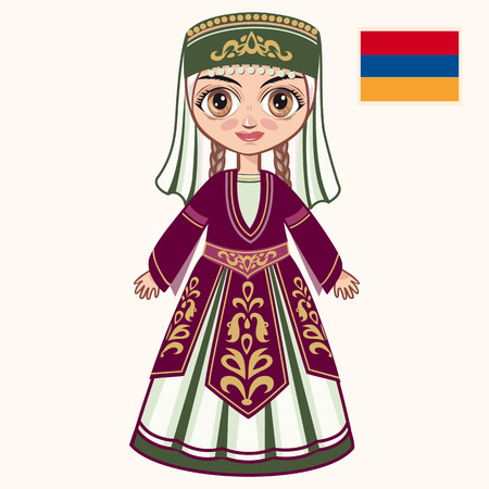 armenian: The girl in Armenian dress. Historical clothes. Armenia Illustration