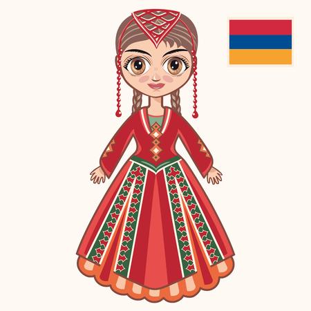 yerevan: The girl in Armenian dress. Historical clothes. Armenia Illustration