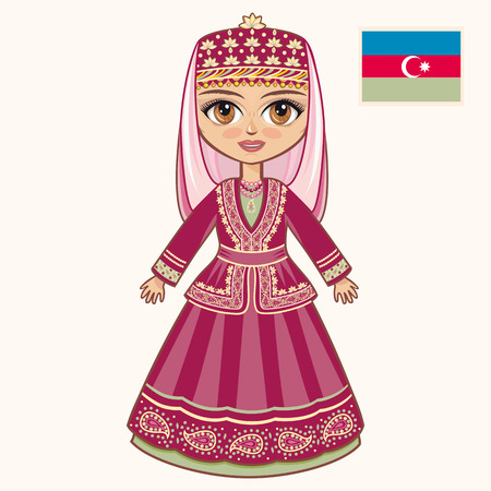 azerbaijani: The girl in Azerbaijanian dress. Historical clothes. Azerbaijan