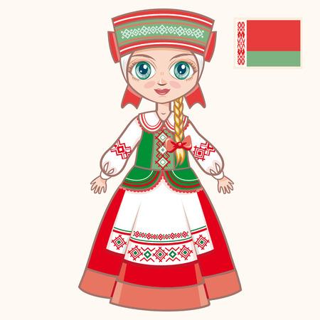 La chica en traje de Belarús. ropa histórica. Belarús