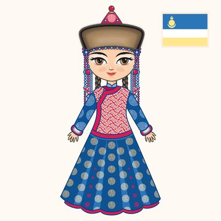 buryatia: The girl in Buryat dress. Historical clothes. Buryatia