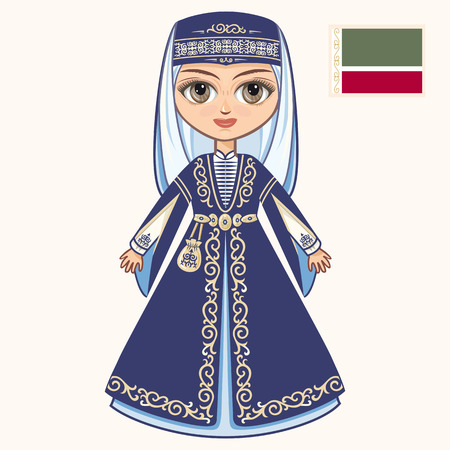skirt suit: The girl in Chechen dress. Historical clothes. Chechnya Illustration