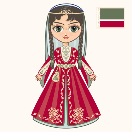 The girl in Chechen dress. Historical clothes. Chechnya Illustration