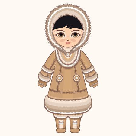 esquimales: chica del Norte. La chica en traje de Chukcha. ropa histórica. El Norte Lejano. dibujo colorido. Vectores