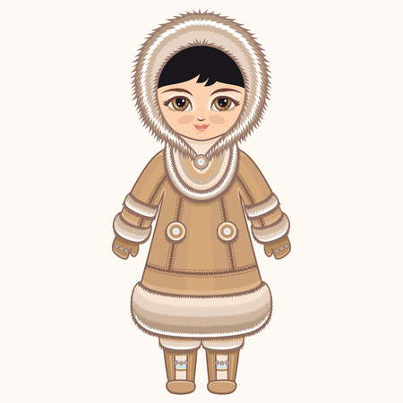 eskimos: North girl. The girl in Chukcha dress. Historical clothes. The Far North. Colorful drawing. Illustration