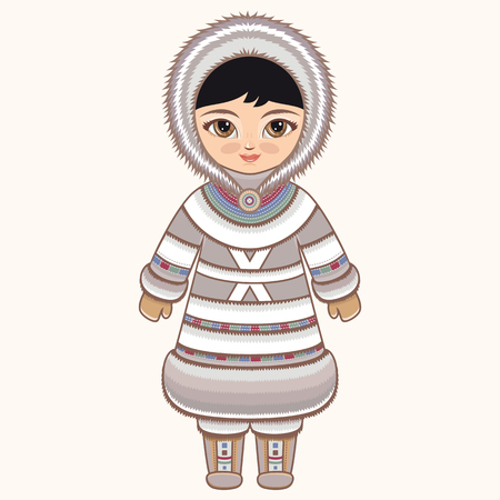 historical: Eskimo clothes. North girl. The girl in Eskimos dress. Historical clothes. The Far North. Colorful drawing.