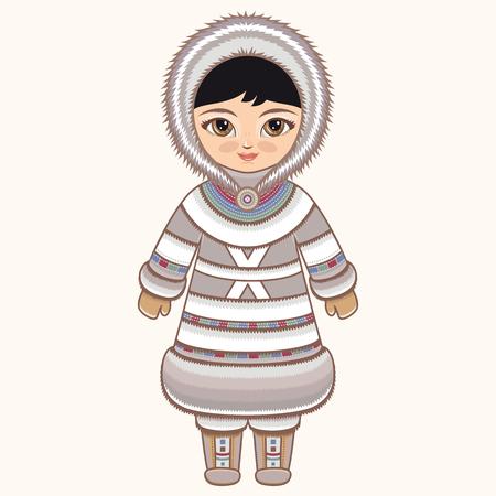 esquimales: ropa esquimales. chica del Norte. La chica en traje de esquimales. ropa histórica. El Norte Lejano. dibujo colorido.