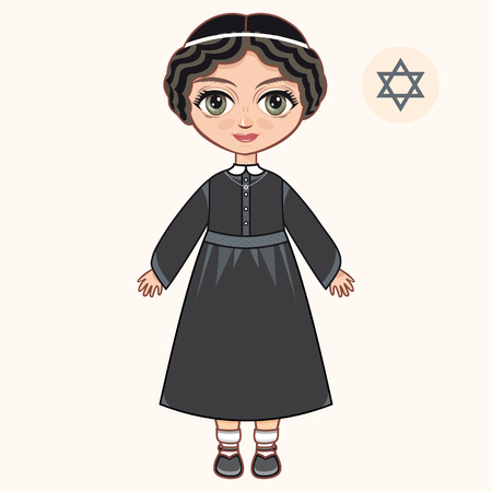 jews: The girl in Orthodox Jews dress. Jewish