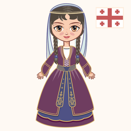 georgian: The girl in Georgian dress. Historical clothes. Georgia