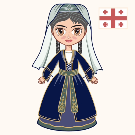 The girl in Georgian dress. Historical clothes. Georgia