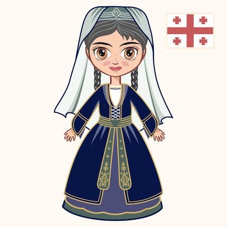 The girl in Georgian dress. Historical clothes. Georgia