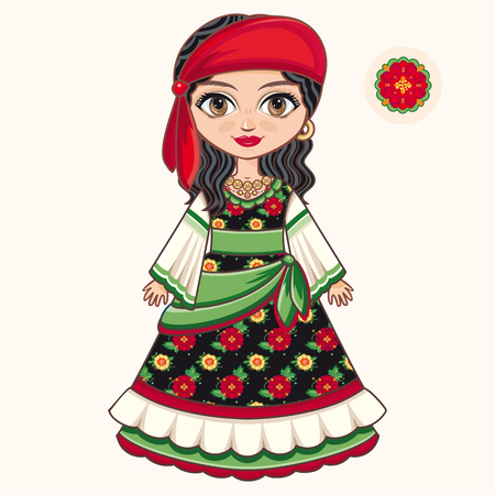 gypsy: Gypsy girl. Historic clothes Illustration